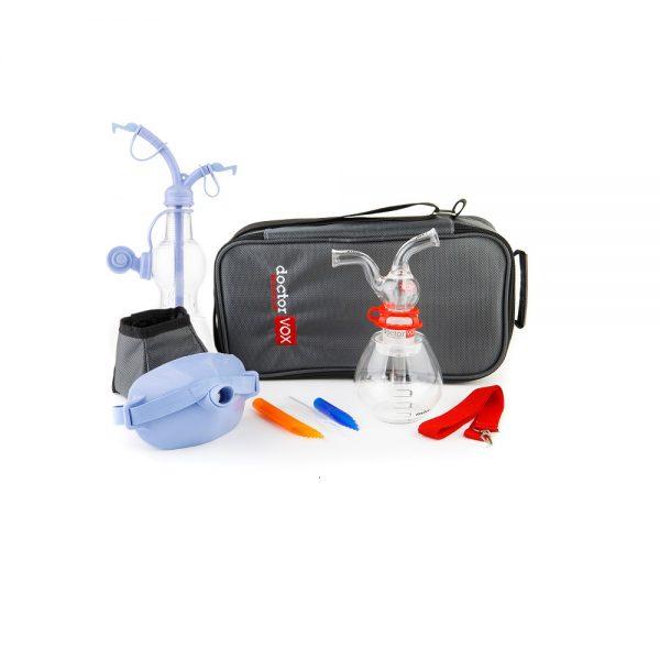 doctorvox voice mask ultra set consists of pocketvox, maskvox, doctorvox apparatus set and the bottle for pocketvox